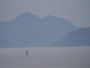 Sailboat in the sound of Skye with Cullins in the background...