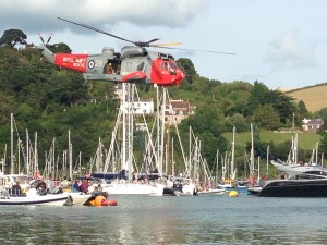 Viewing Airshow from Dingy -  Toodle-oo! right behind the helicopter!